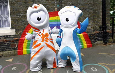 Launch of the London 2012 Olympic and Paralympic mascots. Embargoed to 1900 Wednesday May 19.The launch of the London 2012 Olympic and Paralympic mascots - Wenlock (left) and Mandeville (right) respectively - at St Paul's Whitechapel Church of England Primary School in Tower Hamlets, east London. Picture date: Wednesday May 19, 2010. The mascots will be shown in Britain for the first time on the One Show on BBC1 this evening at 7pm. See PA story OLYMPICS Mascot. Photo credit should read: Johnny Green/PA Wire URN:8873734 (Press Association via AP Images)