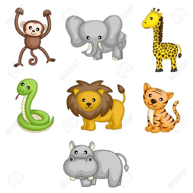 13319860-A-ilustraciones-vectoriales-de-dibujos-animados-animales-salvajes-Foto-de-archivo