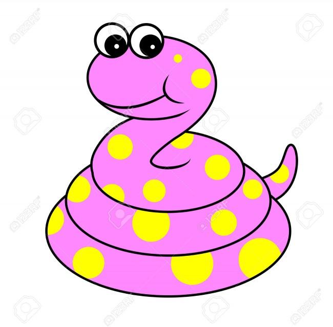 30491147-Ilustraci-n-de-dibujos-animados-de-lindo-color-rosa-serpiente-Reptil-Animal-Foto-de-archivo