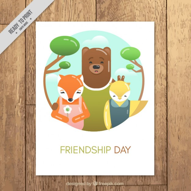 nice-friendship-day-card-with-forest-animals_23-2147558253