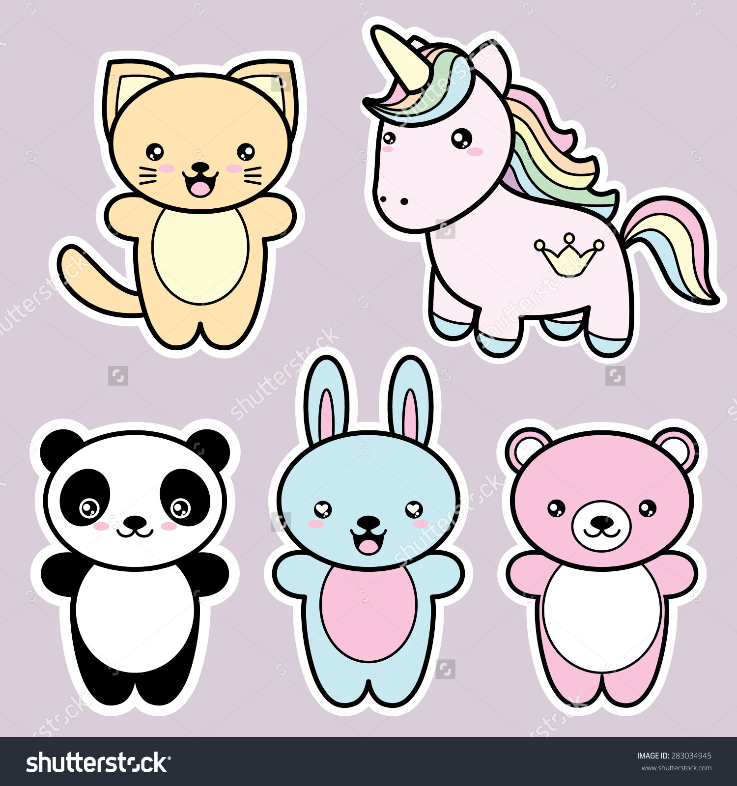 stock-vector-set-collection-of-cute-kawaii-style-happy-smiling-animals-decorative-design-elements-in-doodle-283034945